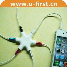 6 in 1 earphone splitter,music splitter for mobile,mini cute earphone splitter