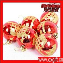 OXGIFT Christmas tree decoration Plastic light painted Christmas balls (6 Pcs/box) 64g 6cm