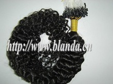 """factory price 18"""" malaysian hair kinky curly micro loop hair extension"""