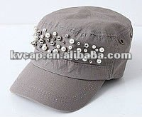 studded flat hat 2012 pop girs cheap flat top hat fashion cotton flat top hat