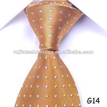 yellow white neat woven polyester necktie