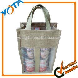 Newest jute wine bag,bottle jute wine tote bag