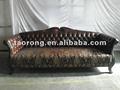 Workmanship requintado esculpida em madeira estrutura de sofá de couro chesterfield, botão sofá de volta so-163