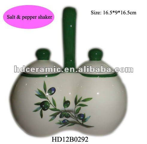 ceramic spice jar set with olive decal printing