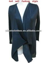2012 new design Long sleeve black ladies modern pleats blouse