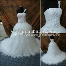 Jj2865 con cuentas de un hombro del vestido de bola del vestido de boda de cinderella