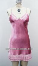 Hot Polyester Satin Babydoll Dress w/ Chiffon Trim & Embroidery Sleepwear
