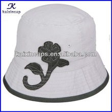 wholesale Children white bucket hat with flowers decoration