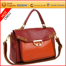 Latest designer high quality pu leather ladies long strap tote bags