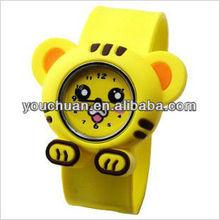 Cute face silicon slap band fashion hot sale watch, precise quartz movement,12colors with ss.com logo