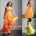 jp0222 longo de chiffon feito sob encomenda cor laranja ou amarela vestidos de baile baratos