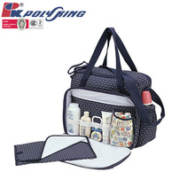 2014 cute baby diaper bag with large compartments and bottle cover (PK-10805)