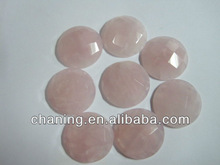 Wholesale 25mm gemstone rose quartz cabochon faceted round for jewelry