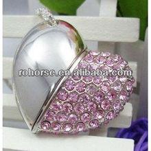 High Quality 4 GB Heart Shape Crystal Jewelry USB Flash Memory Drive ,bride and groom usb flash drive
