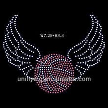 Basketball with wings rhinestone crystal iron on motifs