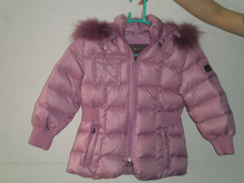 Wholesale & Retail Girls Winter Hooded Fur Collar Down Coat/Jacket--Pink