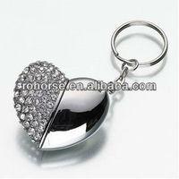 High Quality 8 GB heart Shape Crystal Jewelry USB Flash Memory Drive Keychain,wedding flash drive favors usb