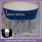TR003J Blue satin ribbon rosette embroidery wedding decorative table runner