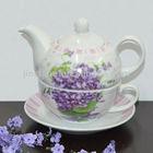 Super white porcelain Tea for one set with purple flower design