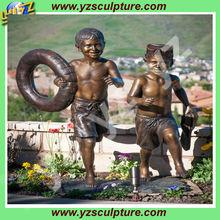 Cast bronze sculpture of Children swimming BFSN-B066