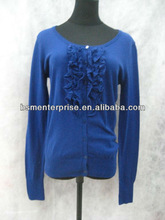 ladies boat neck fashion sweater with ruffles at CF