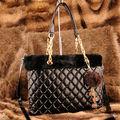 2013 fabricante de china de la serie de invierno a cuadros de la moda de la pu bolsa de las mujeres de piel de conejo bolso del diseñador