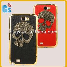 NEW Metal Skull Bones Hard Leather Back Cover Case Skin For Samsung Galaxy Note II N7100
