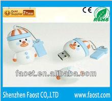 2012 Christmas bulk sale promotion gift cute snowman 128mb usb flash drive leather