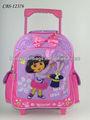 2014 pequeña mochila escolar con ruedas para chicas encantadoras