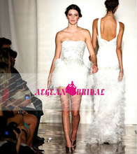 Style S2914 new york fashion walk ostrich feather white bandage dress