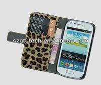 Wallet leopard leather case for Samsung S3 MINI in leopard pattern