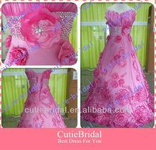 Custom Made Special Neckline A-line Taffeta Pink Prom Dress 2012 With Flowers Ball Gown