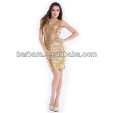 Barbara gold printing short sleeve dresses evening pattern outlet bandage dress