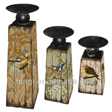 Vintage Wooden Candle Holder With Birds Image