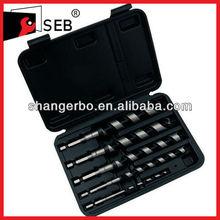 Plastic box Hexagon shank Black teeth Wood Auger drill bit set
