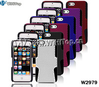 Mesh Hard Back Case Cover For Apple iPhone 5 5G,Hybrid 2 colors silicone+PC case for iPhone5
