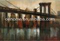 100% pintado a mano nueva york puente decorativo moderno paisaje arte pintura sobre lienzo