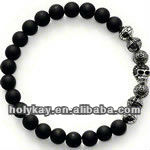 Black agate beads and silver skull looped bracelet,man natural stone bracelet