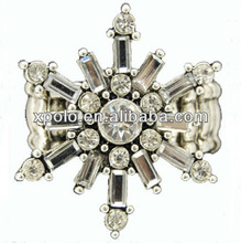 2012 Newest Design Stretch Band Ring With Clear Crystal Snowflake