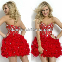 CDT-055 Western Good Quality Sweetheart Short Puffy Red Organza Beaded Cocktail Dresses With Crystals