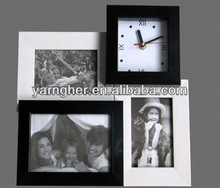 "european ""5x7"" 4x6"" black and white porous unique plastic wall photo frame with clock"