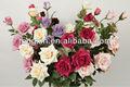 flores de rosa de tela de seda para aniversario de bodas REACH, flores artificiales para supermercado.