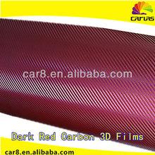 Car Body Cover Dark Red Carbon 3D Film vinyl film for car