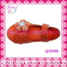 orange color girls leather shoes