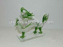 Green crystal handmade dragon with ball