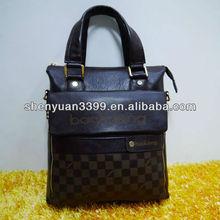 durable Men's real genuine leather messenger tote handbag