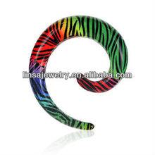 Fancy plugs print colored stripe UV Acrylic Spiral ear expander stretchers body piercing jewelry