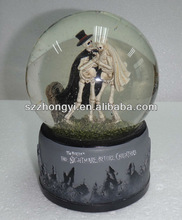 Custom Made Resin Hallowmas Skeleton Pumpkin Snow Globe Souvenir Gift