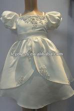 beautiful white satin beaded elegant princess dress for little girl---lcy120823