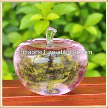 Pink Apple Crystal Clear Gift For Desk Decoration